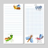 Lined notebook pages template with cartoon insects. Vector illustration Stock Photo