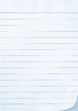 Lined Notepaper. Full-frame lined notepaper, with paper curl Stock Photography