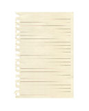 Lined Paper. One sheet of lined paper torn out of a book Stock Images