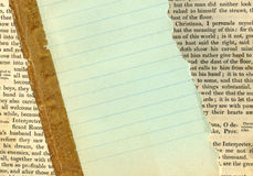 Lined paper on an antique book. Green lined paper on an antique book Stock Photos