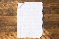 Lined paper. Paper wrinkled crumpled striped folded old Royalty Free Stock Photography