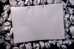 Lined paper notebook on crumpled paper Royalty Free Stock Photography