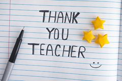 Lined paper notepad with words Thank You Teacher