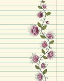 Lined paper sheet with doodle flowers Stock Photography