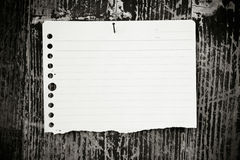 Lined paper textured on wood background Royalty Free Stock Photos