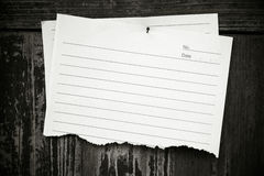 Lined paper textured on wood background Royalty Free Stock Photography