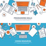 Lined programming,coding and SEO. Outline computing background. Code, hardware software. Web development. Search engine. Optimization. Innovation technologies royalty free illustration
