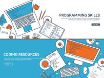 Lined programming,coding and SEO. Outline computing background. Code, hardware software. Web development. Search engine stock illustration