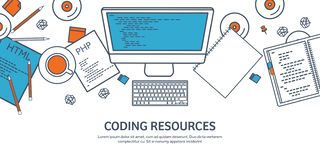 Lined programming,coding and SEO. Outline computing background. Code, hardware software. Web development. Search engine royalty free illustration