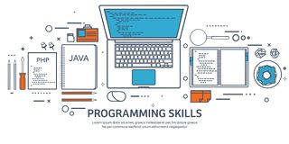Lined programming,coding and SEO. Outline computing background. Code, hardware software. Web development. Search engine vector illustration