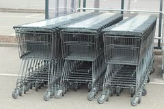 Lined shopping carts royalty free stock image