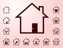 Lined smart home icons Royalty Free Stock Photos