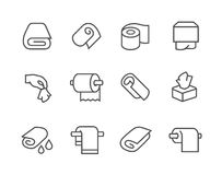 Lined Towels and Napkins Icons Stock Photography