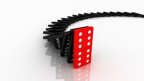 Lined Up. Dominoes. One stop others Stock Image
