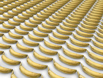 Lined up bananas. 3D render illustration of multiple bananas lined up in a rectangular pattern over a white background Royalty Free Stock Photos