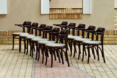 Lined up chairs Royalty Free Stock Photos