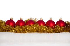 Lined up Christmas evening balls Royalty Free Stock Photography