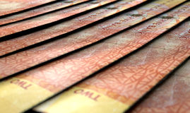 Lined Up Close-Up Banknotes Stock Photography