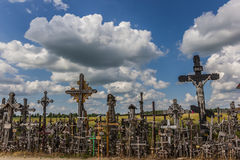 Lined up crosses at the hill of crosses Stock Image
