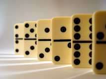 Lined Up Dominos stock photos
