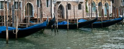 Lined-up Gondolas Royalty Free Stock Photography