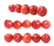 Lined up red plums isolated Stock Photos