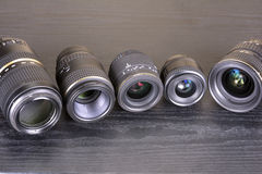 Lined various lenses Stock Images
