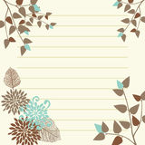 Lined Yellow Page. With Floral Decoration Stock Illustration
