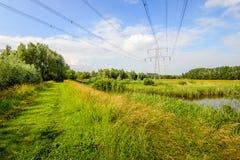 Linee ad alta tensione e piloni in un paesaggio olandese rurale Fotografie Stock Libere da Diritti