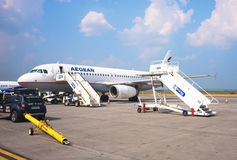Linee aeree egee Airbus A320 fotografia stock libera da diritti