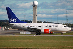 Linee aeree scandinave Boeing 737-600 di SRS Immagine Stock