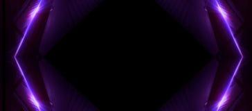 Linee al neon su un fondo scuro Il fondo dello spazio, luci spazia le unità Fondo al neon astratto, tunnel cosmici royalty illustrazione gratis
