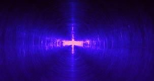 Linee astratte blu fondo delle particelle delle curve Fotografia Stock