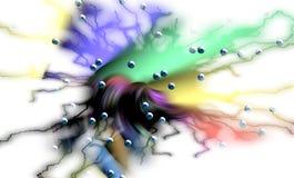 Linee astratte rosa verdi, bolle, fondo ipnotico, progettazione creativa vaga illustrazione di stock