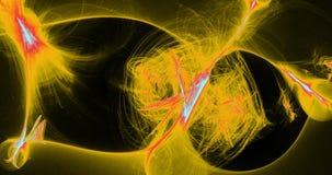Linee astratte rosse e blu gialle fondo delle particelle delle curve Fotografia Stock Libera da Diritti