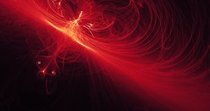 Linee astratte rosse e gialle fondo delle particelle delle curve Immagini Stock