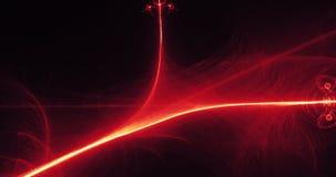 Linee astratte rosse e gialle fondo delle particelle delle curve Fotografia Stock Libera da Diritti