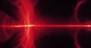 Linee astratte rosse e gialle fondo delle particelle delle curve Immagine Stock Libera da Diritti
