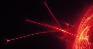 Linee astratte rosse e gialle fondo delle particelle delle curve Fotografia Stock