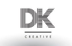 Linee in bianco e nero lettera Logo Design della dk D K Fotografie Stock