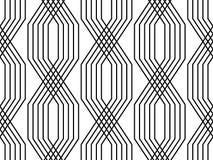 Linee in bianco e nero modello senza cuciture semplice di stile geometrico di art deco, vettore illustrazione vettoriale