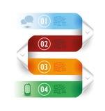 Linee carta delle frecce delle bande colorate esempi di Infographic Fotografie Stock Libere da Diritti