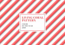 linee colore di corallo vivente della banda 3D del modello diagonale su fondo bianco illustrazione vettoriale