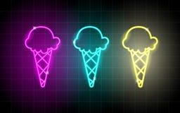 Linee d'ardore al neon, concetto del gelato, progettazione del fondo del gelato fotografia stock