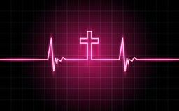 Linee d'ardore al neon, concetto di battito cardiaco fotografie stock
