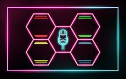 Linee d'ardore al neon, concetto di musica di amore, progettazione del fondo di musica di amore fotografie stock libere da diritti