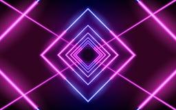 Linee d'ardore al neon, concetto magico della luce dello spazio di energia fotografia stock