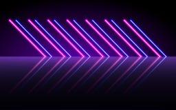 Linee d'ardore al neon, concetto magico della luce dello spazio di energia, progettazione astratta del fondo fotografia stock
