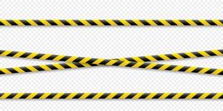 Linee d'avvertimento Avvertalo è pericoloso a salute Nastro d'avvertimento della barriera, giallo-nero, su un fondo isolato Vetto illustrazione di stock
