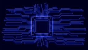 Linee del circuito e del CPU Fotografie Stock